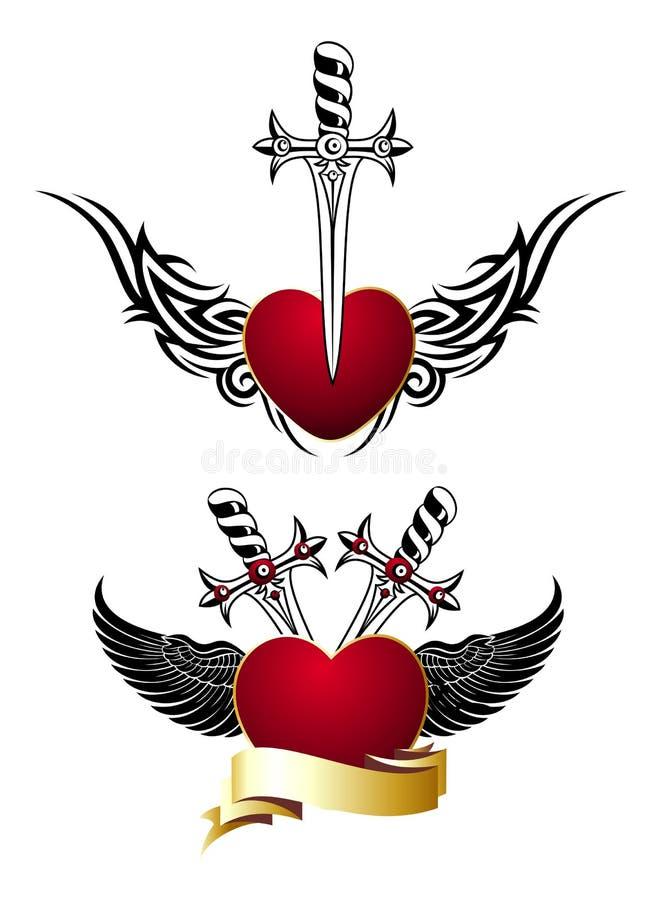 Ensemble de coeurs affectueux avec des ailes et des épées, tatouage illustration stock