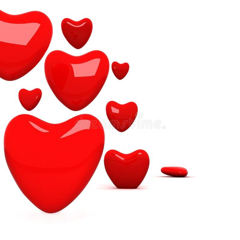 Ensemble de coeurs brillants rouges. illustration stock