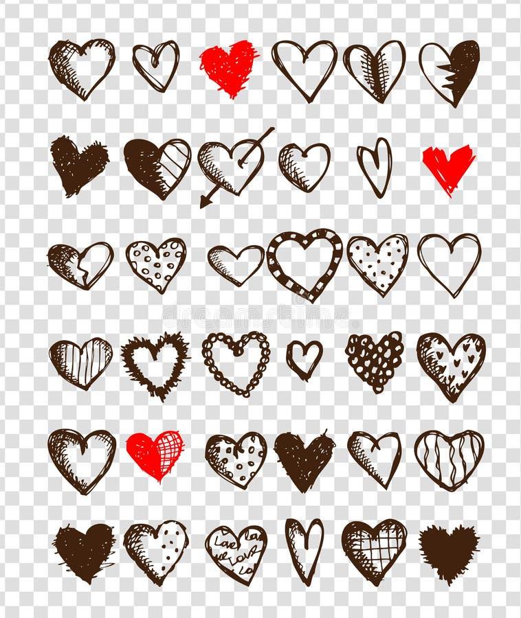 Ensemble de coeurs de valentine pour votre conception illustration de vecteur