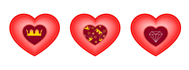 Ensemble de coeurs pour le jour du ` s de Valentine Insertions sous forme de couronne, de diamant et de modèle des éléments illustration de vecteur