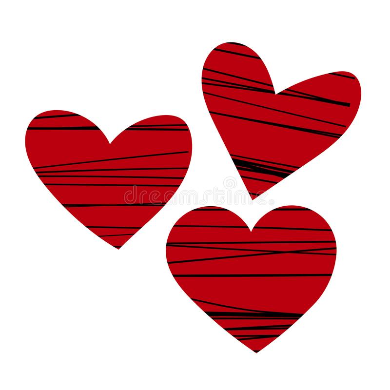 Ensemble de coeurs rouges avec les rayures tirées par la main noires, conception de jour du ` s de valentine, collection romantiq illustration libre de droits