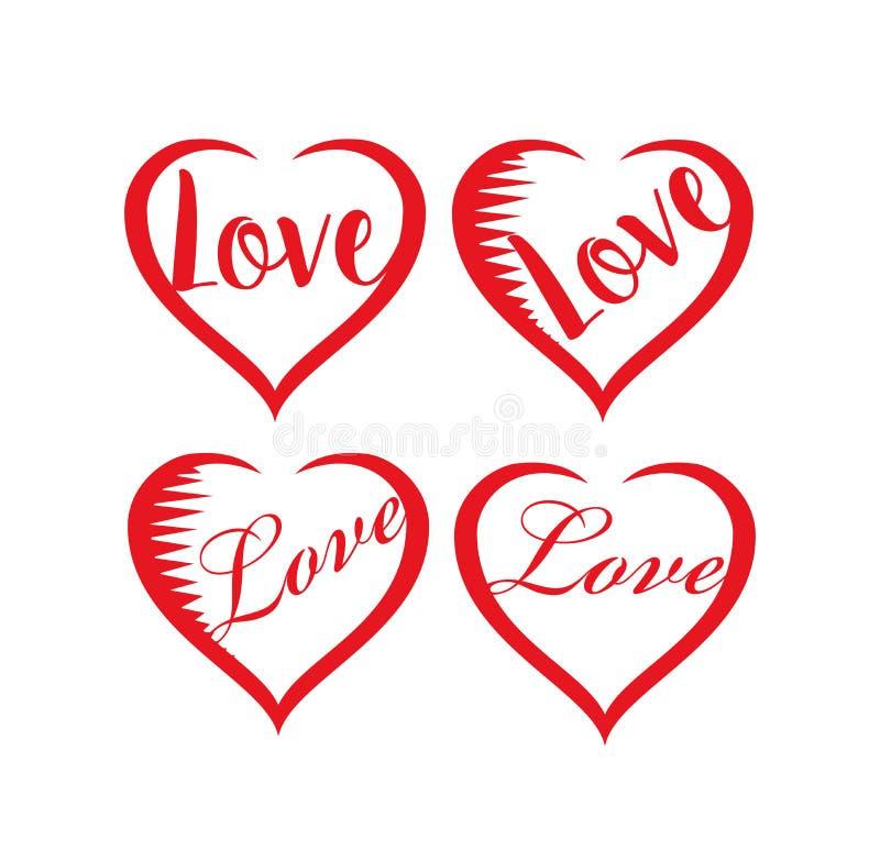 Ensemble de coeurs de valentines illustration libre de droits