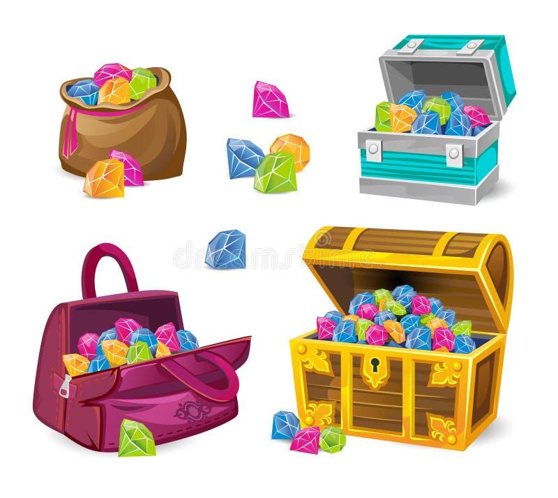 Ensemble de coffres de jeu avec différentes pierres gemmes sur le fond transparent illustration de vecteur