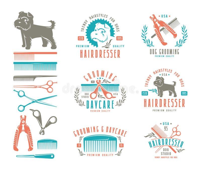 Ensemble de coiffeur pour le chien insignes et éléments de conception illustration libre de droits