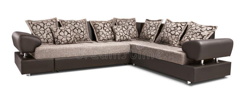 Ensemble de coin de sofa de tapisserie d'ameublement avec des oreillers d'isolement sur le backgr blanc photos libres de droits