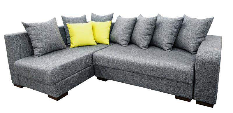 Ensemble de coin de sofa de tapisserie d'ameublement avec des oreillers d'isolement sur le fond blanc avec le chemin de coupure photo stock
