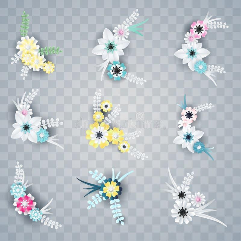 Ensemble de coins blancs et colorés de fleurs de papier illustration libre de droits