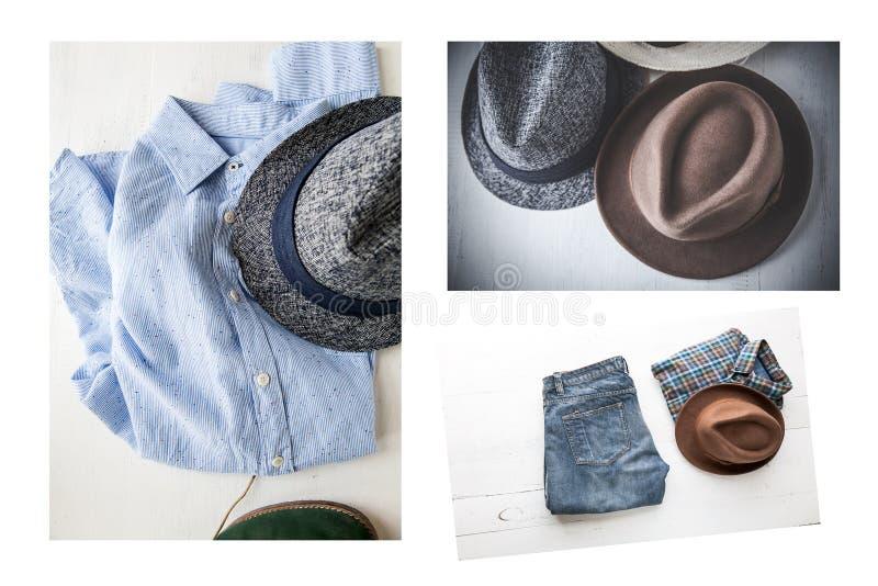 Ensemble de collage de divers vêtements et accessoires pour les hommes image libre de droits