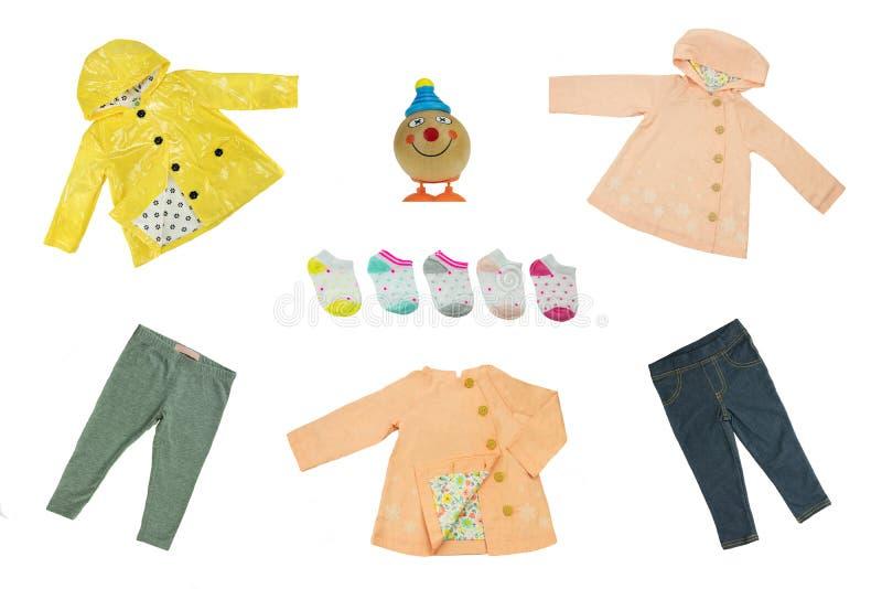 Ensemble de collage de vêtements d'enfants Ressort de concept et tissu d'été photos libres de droits