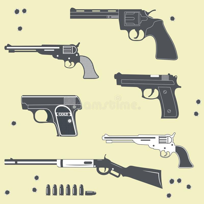 Ensemble de collection d'armes à feu de balle illustration libre de droits