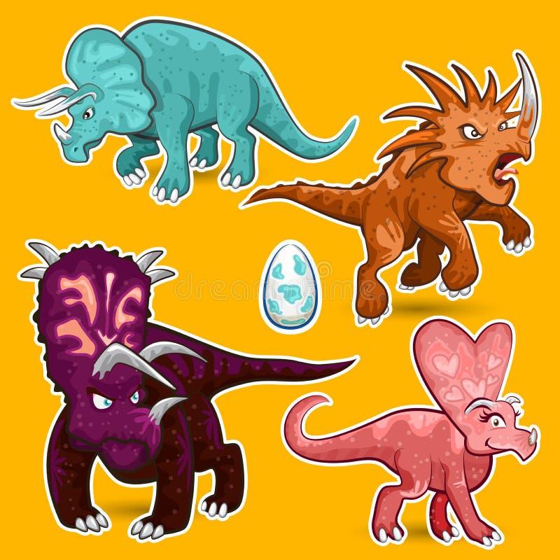 Ensemble de collection d'autocollant de dinosaures de rhinocéros de Triceratops illustration libre de droits