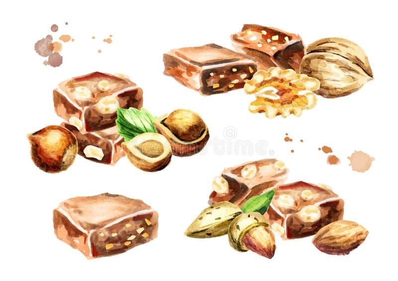 Ensemble de collection de chocolat Le visage des femmes tirées par la main d'illustration illustration stock
