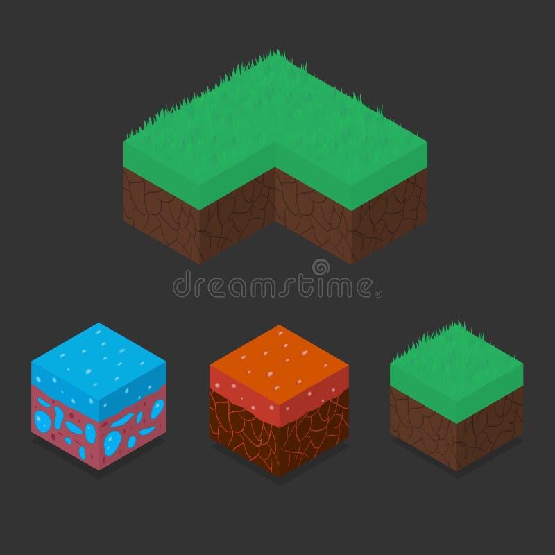 Ensemble de collection de cubes isométriques en paysage 3D illustration libre de droits
