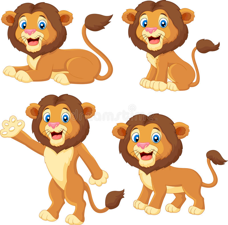 Ensemble de collection de lion de bande dessinée illustration de vecteur