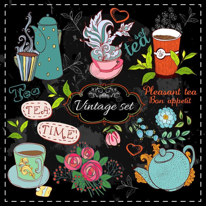 Ensemble de collection de thé illustration de vecteur