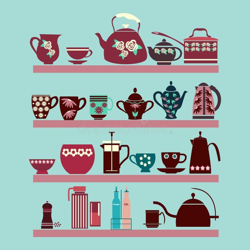 Ensemble de collection de thé avec un pot de thé, tasse de thé, pots, cruches sur illustration de vecteur
