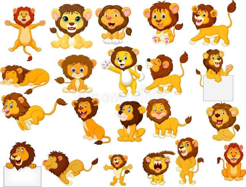 Ensemble de collection de lions de bande dessinée illustration libre de droits
