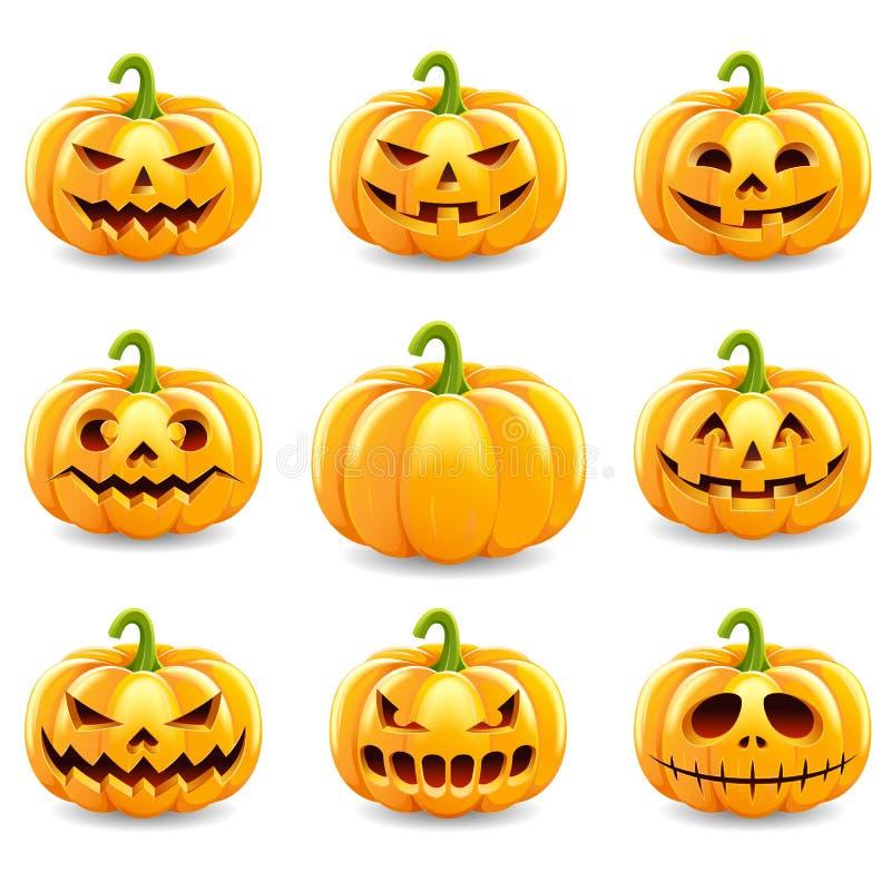 Ensemble de collection de potirons de Halloween illustration libre de droits