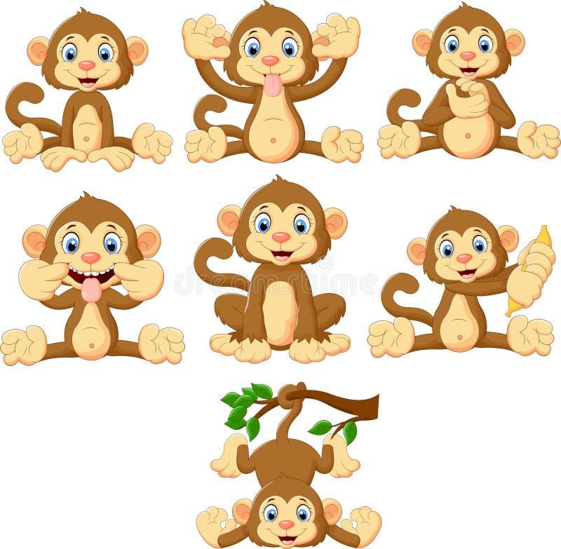 Ensemble de collection de singes de bande dessinée illustration stock