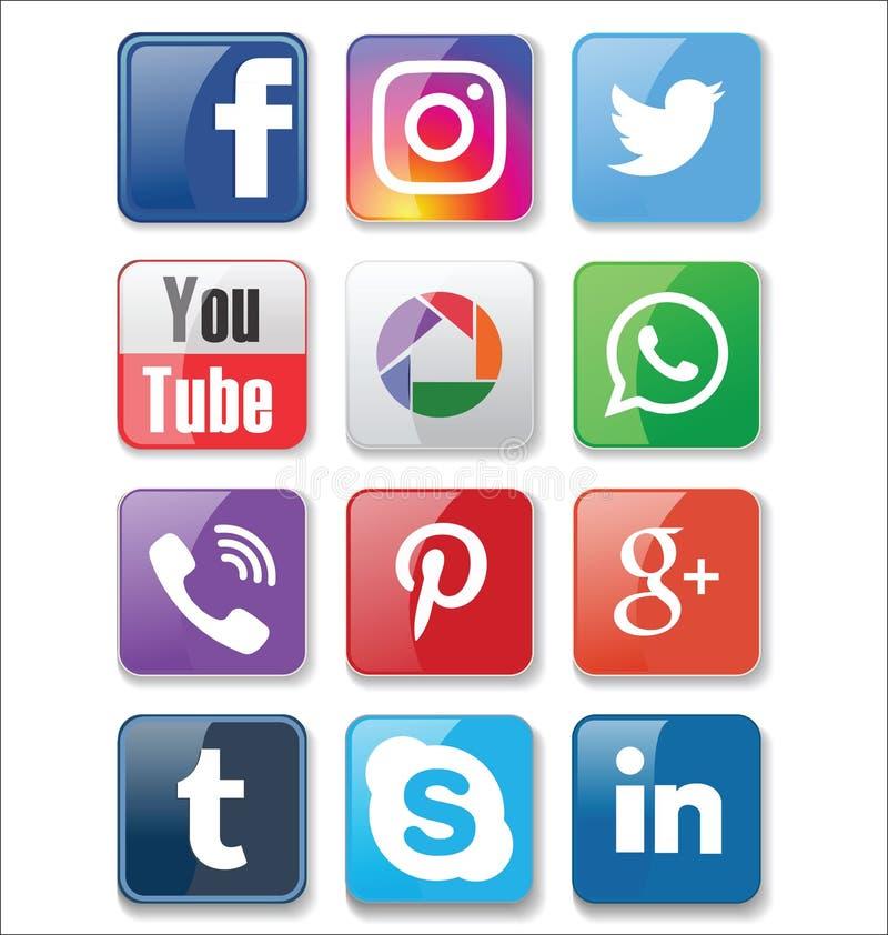 Ensemble de collection sociale d'icônes de media de les plus populaires illustration de vecteur