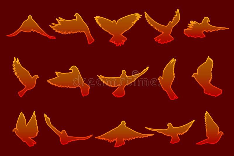 Ensemble de colombes rouges du feu de vol sur le fond rouge foncé illustration stock