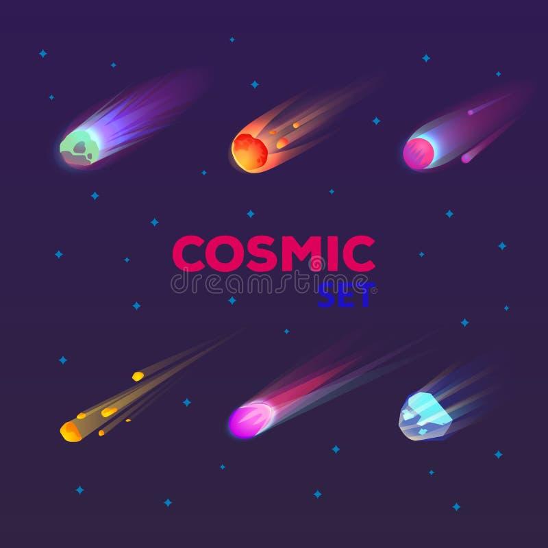 Ensemble de comète en baisse d'isolement ou d'étoile brûlante illustration stock
