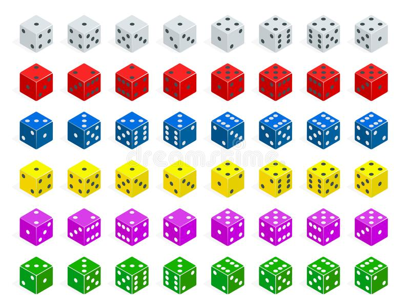 Ensemble de combinaison isométrique de matrices Le tisonnier blanc, rouge, jaune, vert, bleu et pourpre cube le vecteur d'isoleme illustration libre de droits