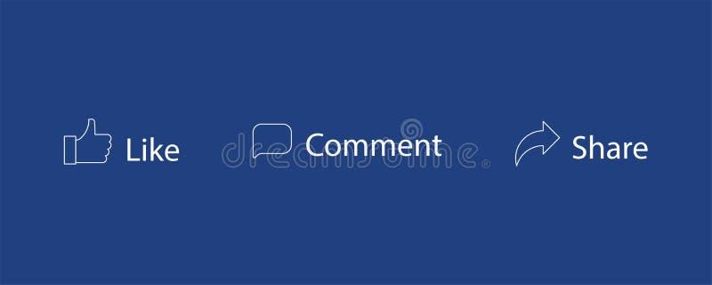 Ensemble de comme icônes de vecteur de part de commentaire Pouce, message Graphismes sociaux de réseau illustration de vecteur
