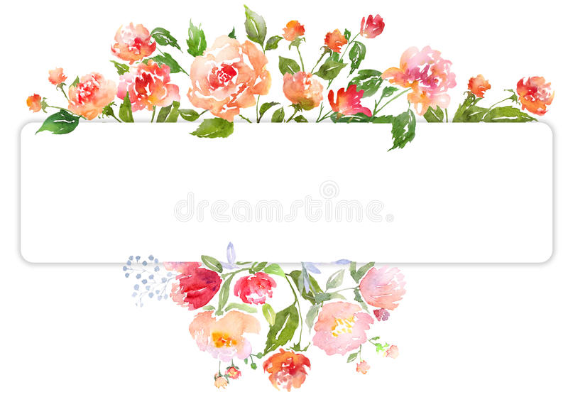 Ensemble de composition florale d'aquarelle illustration libre de droits