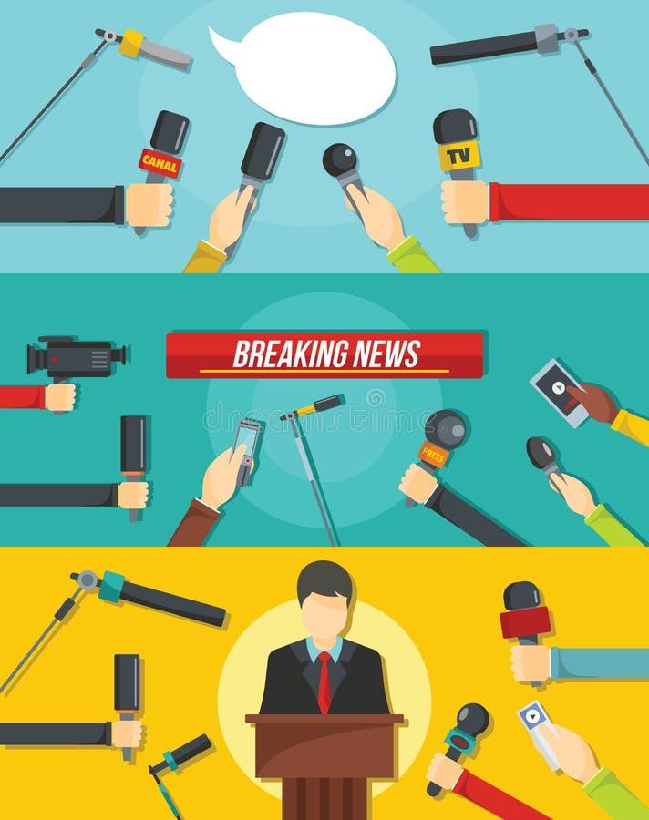 Ensemble de concept de bannière d'actualités de journalisme, style plat illustration de vecteur