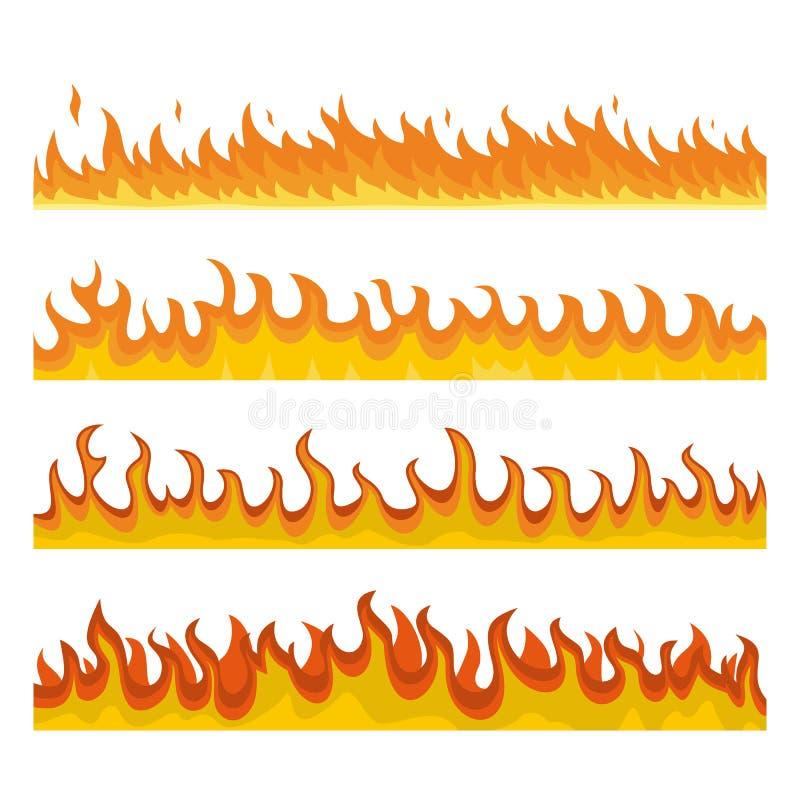 Ensemble de concept de bannière du feu de nuit de feu, style plat illustration stock