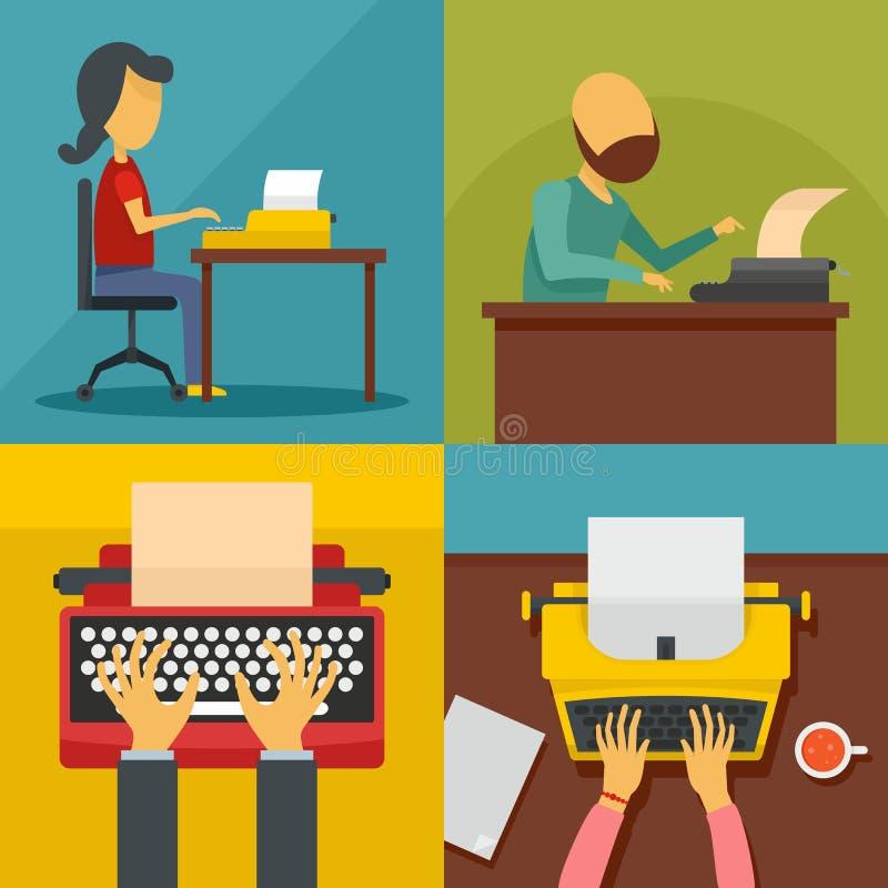 Ensemble de concept de bannière de machine de machine à écrire, style plat illustration de vecteur