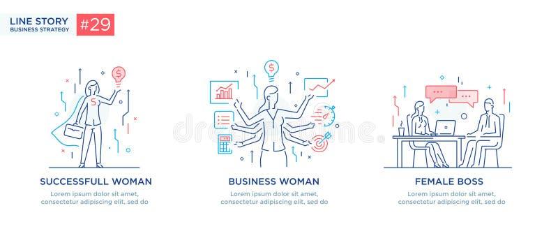 Ensemble de concept d'illustrations avec des hommes d'affaires Déroulement des opérations, croissance, graphiques Développement d illustration libre de droits
