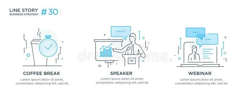 Ensemble de concept d'illustrations avec le concept d'affaires Déroulement des opérations, croissance, graphiques E illustration libre de droits