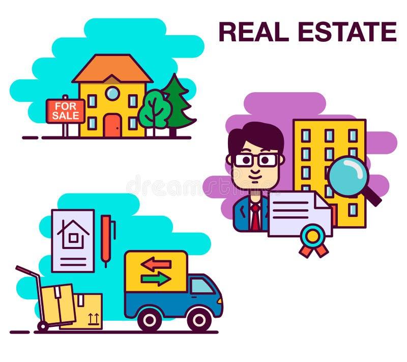 Ensemble de concept de construction d'immobiliers avec le marché de location d'appartement en ligne de recherche achetant l'illus illustration stock