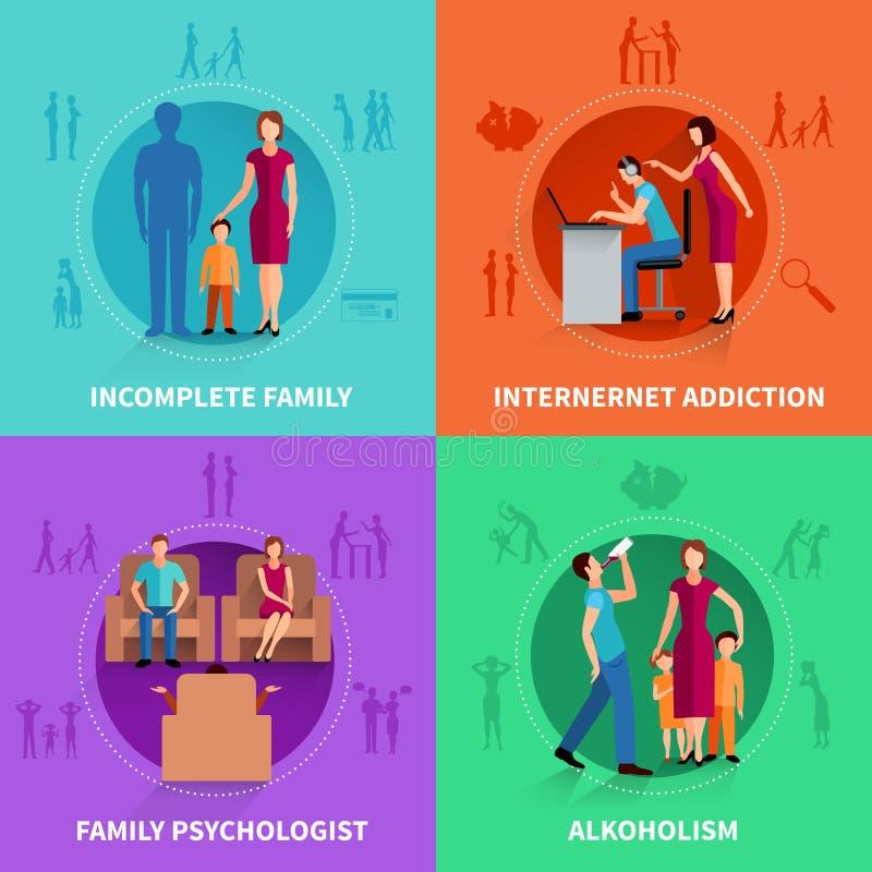 Ensemble de concept de construction de conflit de famille illustration libre de droits