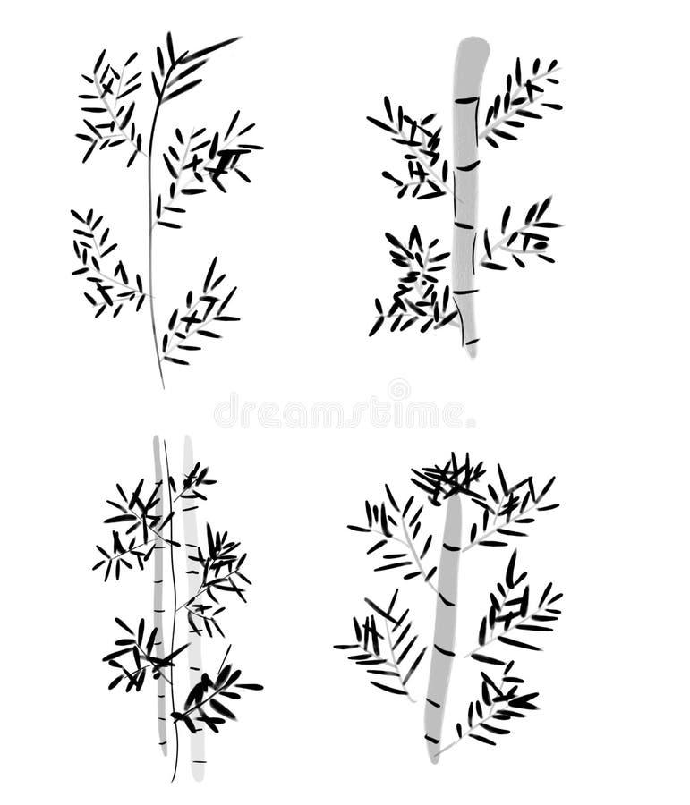 Ensemble de concept en bambou d'art de brosse de Chinois illustration libre de droits