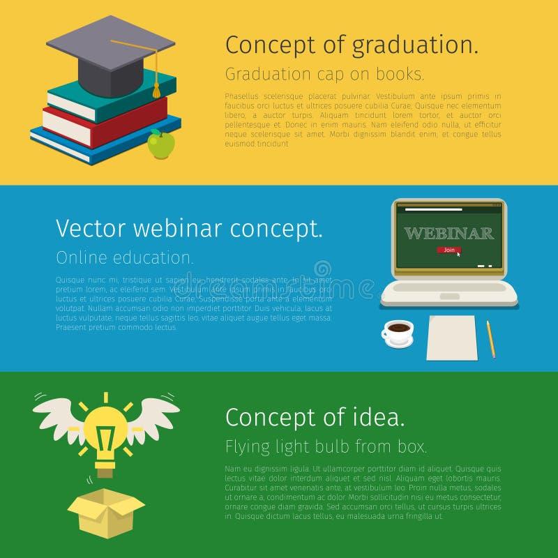 Ensemble de concept en ligne d'éducation illustration libre de droits