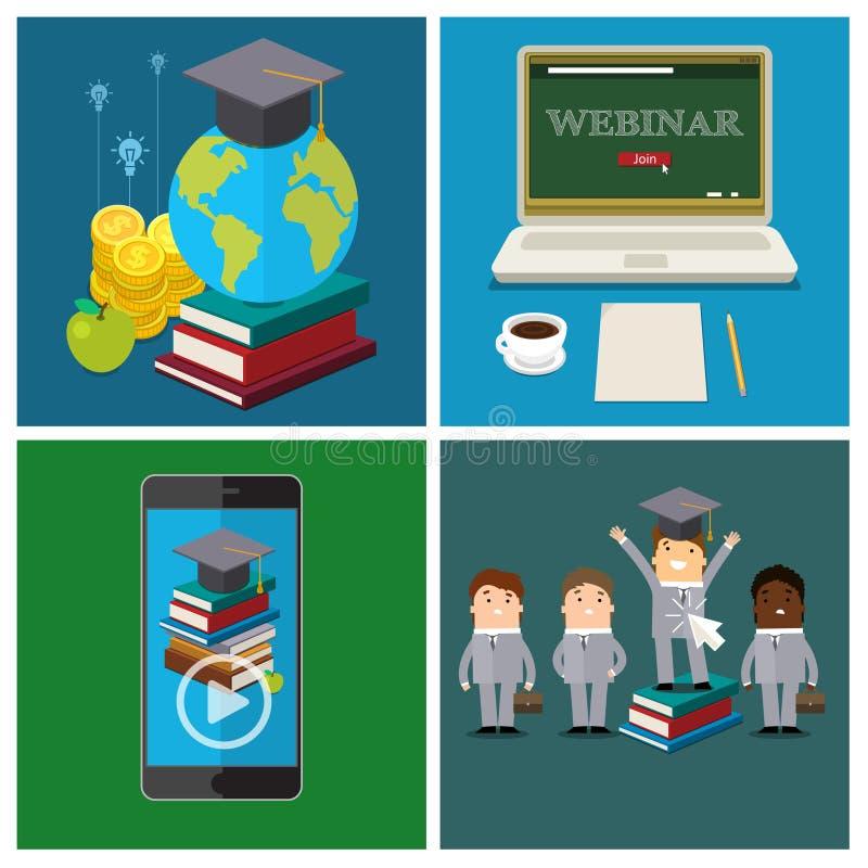 Ensemble de concept en ligne d'éducation illustration de vecteur
