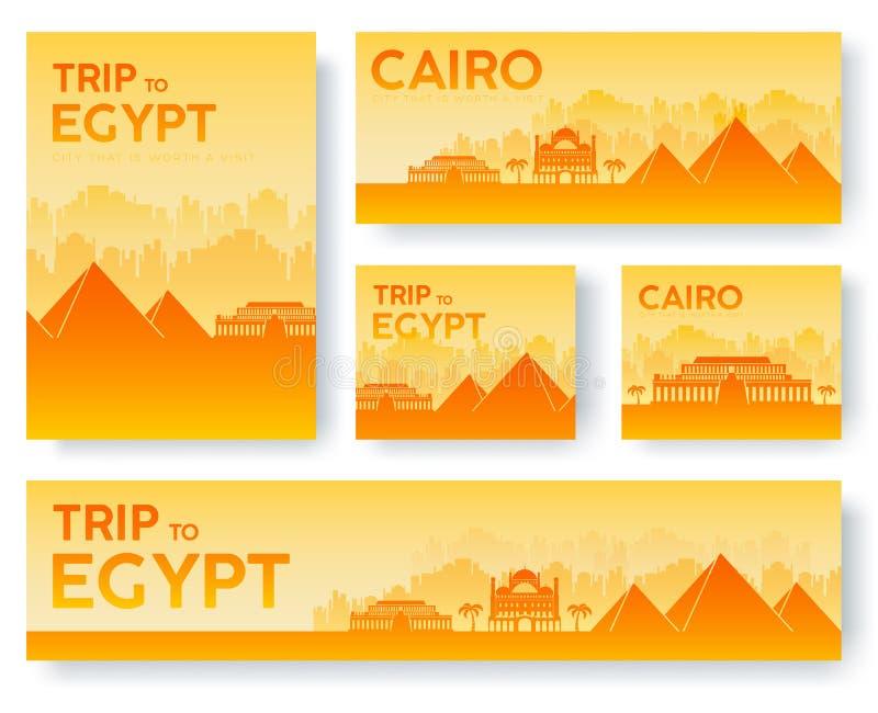 Ensemble de concept de visite de voyage d'ornement de pays de paysage de l'Egypte Cultivez traditionnel, insecte, magazine, livre illustration libre de droits