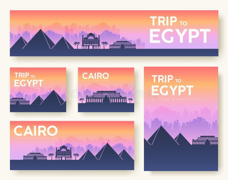 Ensemble de concept de visite de voyage d'ornement de pays de paysage de l'Egypte Cultivez traditionnel, insecte, magazine, livre illustration de vecteur