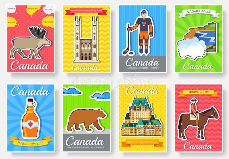 Ensemble de concept de voyage de voyage d'ornement de pays de Canada Art traditionnel, magazine, livre, affiche, résumé, bannière illustration libre de droits