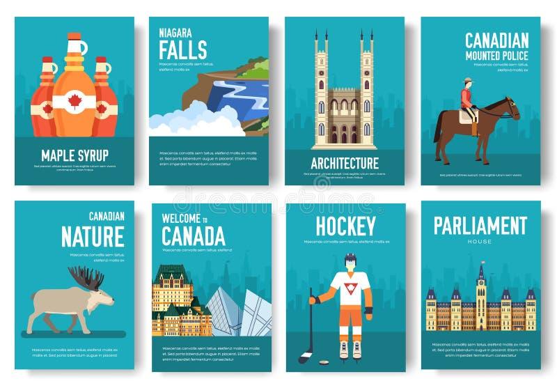 Ensemble de concept de voyage de voyage d'ornement de pays de Canada Art traditionnel, magazine, livre, affiche, résumé, bannière illustration de vecteur
