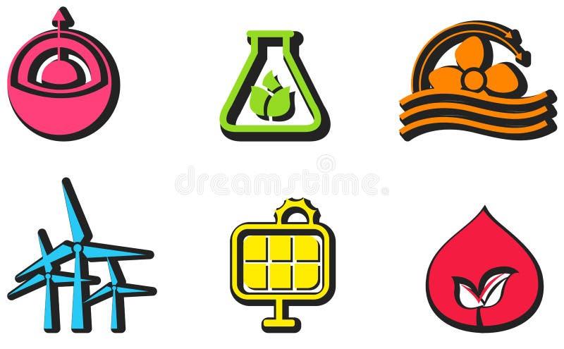 Ensemble de conception d'icône d'énergie propre et renouvelable illustration stock