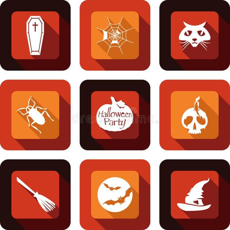 Ensemble de conception d'icône de partie de Halloween illustration de vecteur