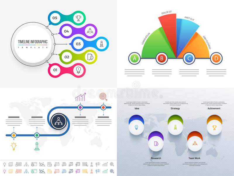 Ensemble de conception d'Infographic de chronologie avec 5 et 4 niveaux dans quatre d illustration libre de droits