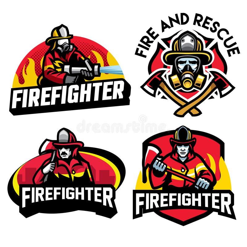 Ensemble de conception d'insigne de sapeur-pompier illustration stock