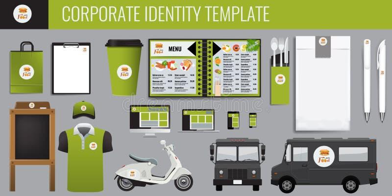 Ensemble de conception de calibre d'identité d'entreprise de nourriture de vecteur Moquerie de marquage à chaud de vecteur pour v illustration de vecteur