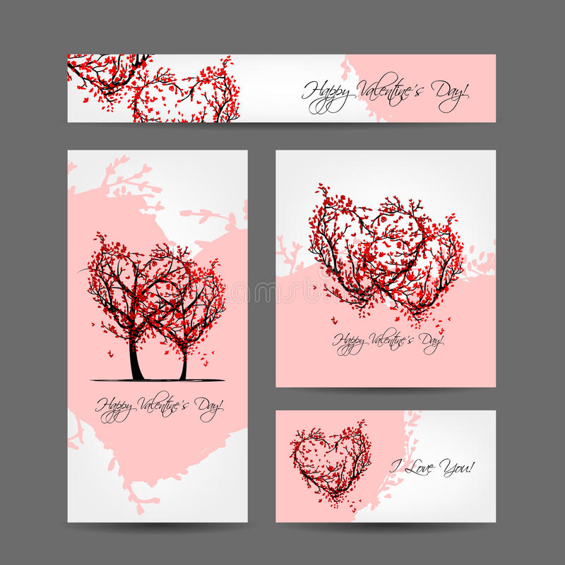 Ensemble de conception de cartes de valentine avec des arbres de Sakura illustration libre de droits