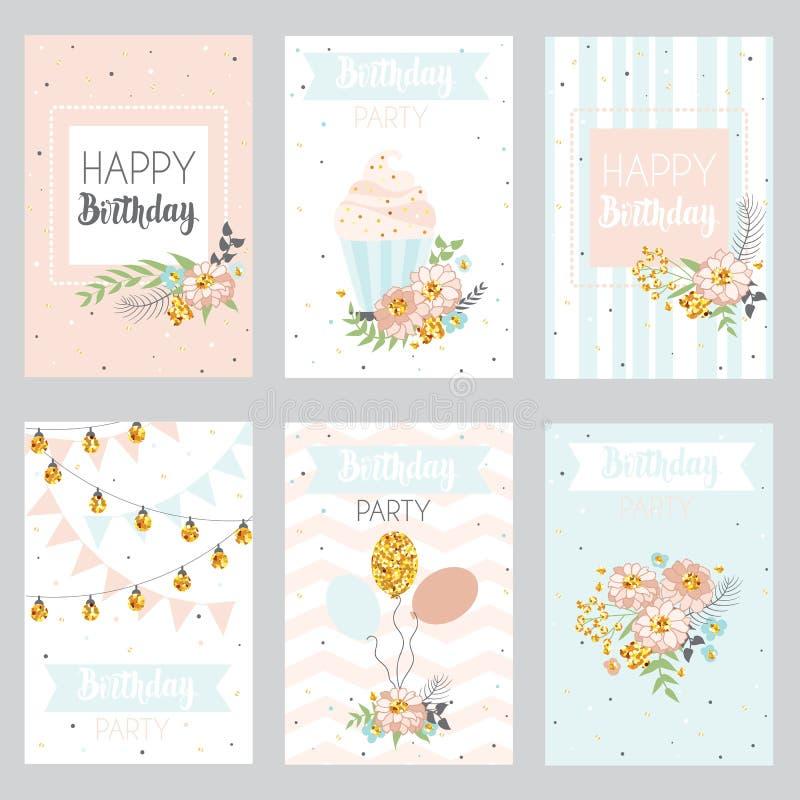 Ensemble de conception de cartes de voeux d'anniversaire illustration stock